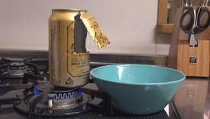 【グルメ動画】ビールの空き缶でポップコーンを作ってみた