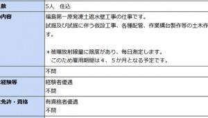 【高額給料】福島第一原発凍土遮水壁工事の作業員の月給75万円+危険手当! 学歴と経験は不問!