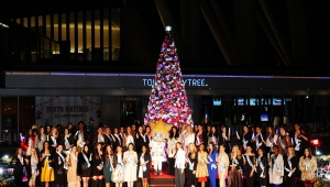 【美麗】東京スカイツリータウンのイルミネーションが点灯! 世界中のミスインターナショナル出場者が集まる