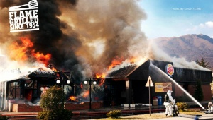 【革命】バーガーキングが自社店舗の火事をアピールに使用 / ウチの出火原因はすべて「肉を美味しく焼くための直火」が原因なんだ