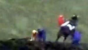 中山競馬場で走っている馬がスタッフを蹴り飛ばす事故発生