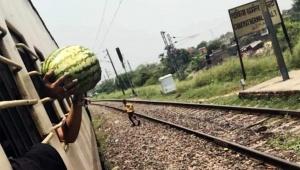 【インターネット衝撃画像】列車に乗りながらスイカ売りからスイカを買った結果