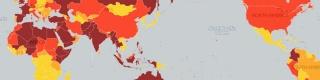 【衝撃】外務省が発表した「テロの脅威マップ」が話題 / 危険度が高いほど濃い色で表示
